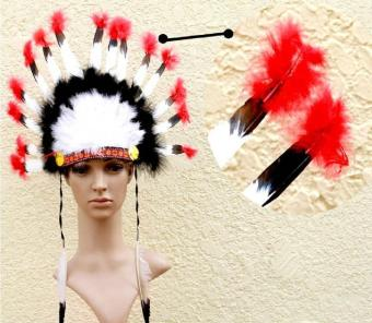 leegoal Indian Feathers Headdress Native American Chief Head DressFor Adult And Kids Halloween Costumes Party, Black+White+Red23x14inch - intl