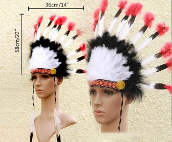 leegoal Indian Feathers Headdress Native American Chief Head DressFor Adult And Kids Halloween Costumes Party, Black+White+Red23x14inch - intl - 5