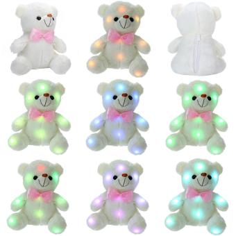 leegoal LED Light Up Glow Teddy Bear Stuffed Plush Toy Dolls WithColorful Flash LED Light, Birthday Gift/Christmas Present For Kids,White 8.7x6.3inch - intl