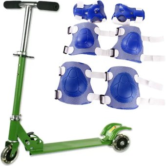 Little Jr 3 Wheels Scooter Green With Protective Pads for Cycling6-piece Set (Blue)