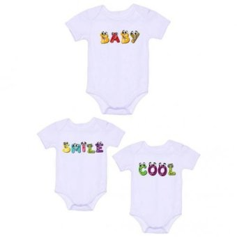 LMC Baby/Smile/Cool Onesies, Pack of 3 (White)