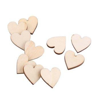 Love Heart Shape Wood Embellishment for Weddings Plaques Craft (20mm 100pcs) - intl - 3