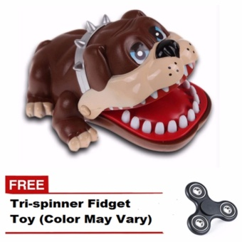 Lucky Dog Bulldog Mouth Dentist Bite Finger Game Funny Toy Gift(Brown) with FREE Tri-spinner Fidgets (Color May Vary)