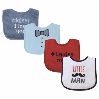Luvable Friends 4 Piece Drooler Bib Little Man