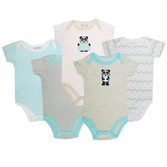 Luvable Friends 5 Pack Bodysuit Panda for 0-3 Months Old