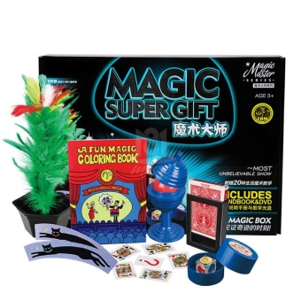 Magic Trick Set Professional Magic Tricks Props with DVD Teaching Close-up Magic Show Suitcase Gift for Kids Color:Blue - intl