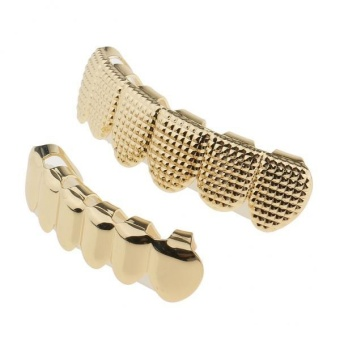 MagiDeal 18K Gold Custom Hip Hop Teeth Fang Grillz Set Upper & Lower