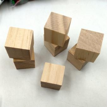 MagiDeal 20Pcs Natural Wooden Squre Cubes Embellishment for Craft 20mm - intl - 4