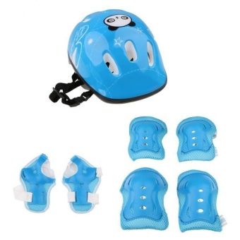 MagiDeal 7pcs Kids' Roller Skate Bicycle Set - Helmet . Knee . Wrist Guard . Elbow Pad (Blue)
