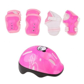 MagiDeal 7pcs Kids' Roller Skate Bicycle Set - Helmet . Knee . Wrist Guard . Elbow Pad (Pink) - intl