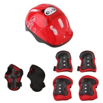MagiDeal 7pcs Kids' Roller Skate Bicycle Set - Helmet . Knee . Wrist Guard . Elbow Pad (Red) - intl