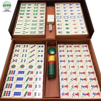 Mahjong One Set Of 144 Ivory White Tiles In Brown Briefcase