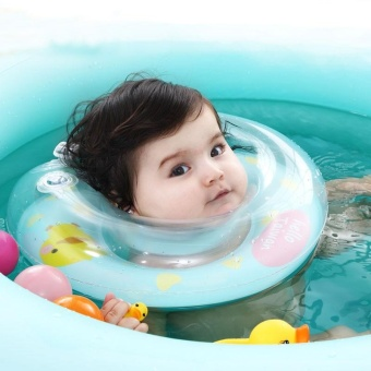 Mambobaby Kids Cute Swimming Neck Float Infant Baby Inflatable Bath Protection Ring Circle- Light Blue L - intl