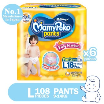 MamyPoko Pants Easy to Wear Diaper Large 18's Pack of 6
