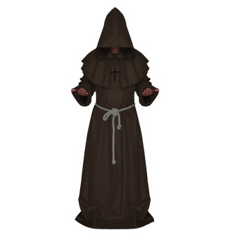 Men Medieval Hooded Robe Monks Witch Pastor Cloak Knight Fancy CoolCosplay Halloween Party Costume Clothes Coffee - intl