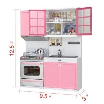 Mini Children's Kitchen Pretend Play Cooking Set Cabinetstove Toy -intl