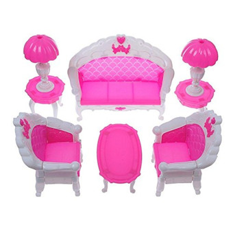 Mini Dollhouse Furniture Living Room Set Table and Chair for Barbie Dolls