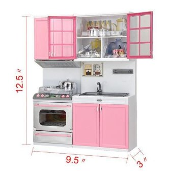 Mini Kids Modern Kitchen Pretend Play Cook Cabinet Stove Toys(Pink) - 3