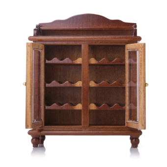 Miniatures Living Room Furniture Wooden Wine Cabinet Walnut