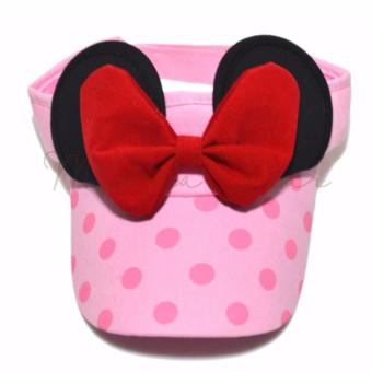 Minnie Mouse Sun Visor for Kids Ribbon Bow Sun Hat Children SunVisor Hat Polka Pink Disney Price Philippines