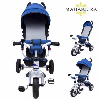 MK LJ-A19 Tricycle Assist Stroller Ride-On Tricycle Bike Safety BarRain Safe with Double Push Steer Handle BLUE