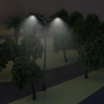 Model Street Lights LED Dual Lamppost 1:150 Scale 9cm 10pcs - picture 2