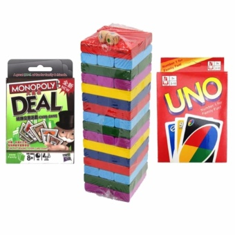 Monopoly Cards with Colorful Jenga and Uno Cards