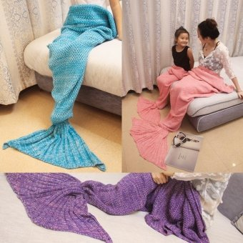 Moonar Creative Knitted Mermaid Tail Blanket Super Soft Sleeping Bed Crochet Anti-Pilling Blanket (Mint Green for Baby) - intl