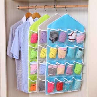 Moonar Home Living 16 Pockets Clear Door Closet Hanging Bag Baby Small Items Hanger Storage Tidy Organizer (Blue)