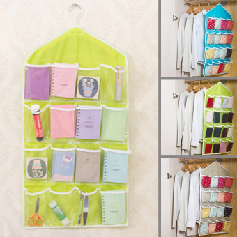 Moonar Home Living 16 Pockets Clear Door Closet Hanging Bag BabySmall Items Hanger Storage Tidy Organizer (Green) - Intl
