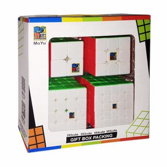 Moyu MoFang JiaoShi Gift Set MF2S 2X2 & MF3RS 3X3 & MF4S4X4 & MF5 5X5 Stickerless Bright Magic Cubing ClassroomCompetitive Speed Rubik's Cube Set