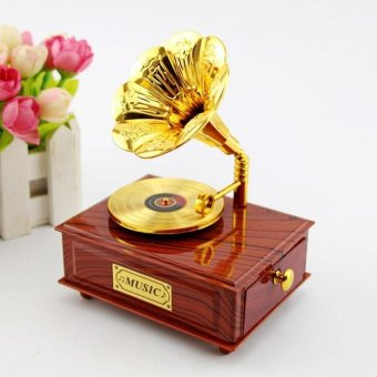 Music Box Creative Vintage Phonograph Shaped With Organzation Box - intl
