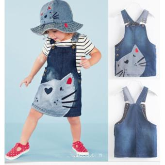 New Cute Cat Baby Kids Girls Toddler Denim Jeans Overalls Dress Skirt Clothes