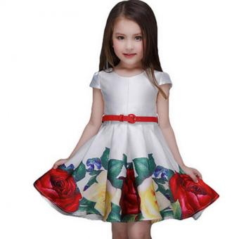New cute girls formal fashionable dresses Summer Party BirthdayFlower Girl Dress kids party dress floral printed