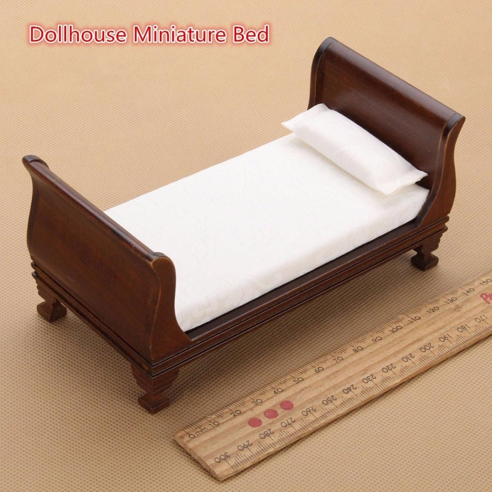 dollhouse miniature furniture. New Dollhouse Miniature Furniture Wood Color Delicacy VintageSingle Bed 1:12 Scale Doll Toys Accessories