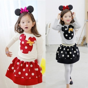 New Fashion Children Girl's 2pcs Sets Skirt Suit Mouse Baby SetsDots Skirt Dots(Color:Red)