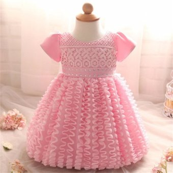 New Infant Baby Girl Dress Wedding Christening Gown Baptism ClothesFor 0-2 Year Birthday Wedding Party (Pink) - intl