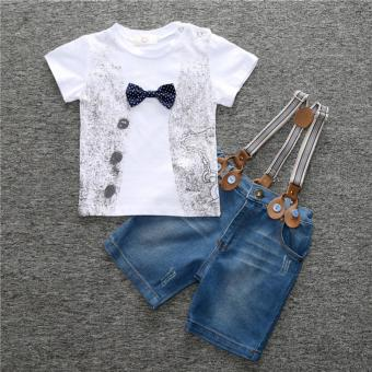 New Infant Newborn Baby Boys Clothes T-shirt +Jean Short Outfits Set - intl