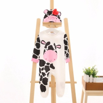 New Lovely Infant Baby Girls Boys Playsuit Romper+Hat CostumeOutfits Set - 2