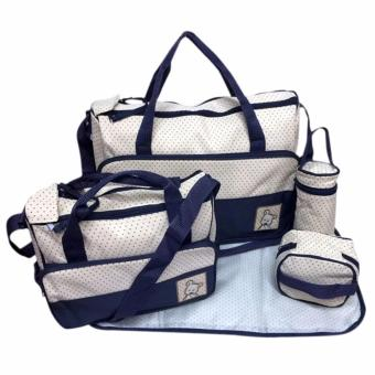 New Mommy Travel Tote Diaper Bag Polka Dot Diaper BagsMultifunction Diaper Organizer Set: Diaper Bag / Changing Pad /Wipe Container 5 in 1 (Navy Blue) Price Philippines