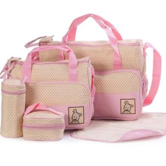 New Mommy Travel Tote Diaper Bag Polka Dot Diaper BagsMultifunction Diaper Organizer Set: Diaper Bag / Changing Pad /Wipe Container 5 in 1 (Pink)
