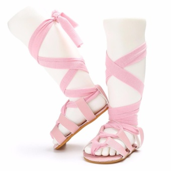 New Newborn Infant Toddler Baby Girl Leather Bandage Sandals PramShoes Pink - intl
