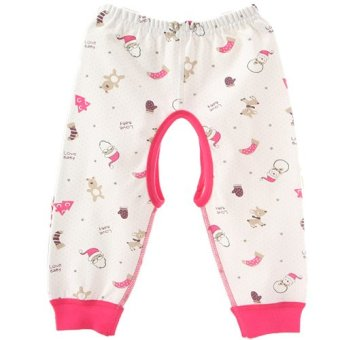 Newborn Babies Unisex Striped Open-Seat Cotton Cute Bodysuit Pants M(Pink) (Intl)