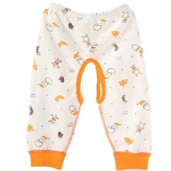 Newborn Babies Unisex Striped Open-Seat Cotton Cute Bodysuit Pants S (Orange) (Intl)