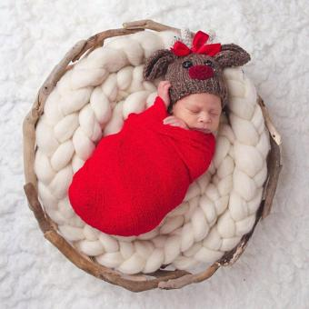 Newborn Baby Cotton Linen Swaddle Wrap Photography Prop (Red) - intl