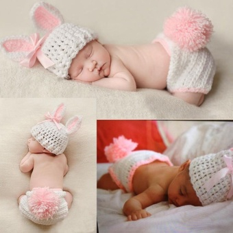 Newborn Baby Girl Boy Knitted Knit Costume Photo Photography PropHats Outfit - intl - 3