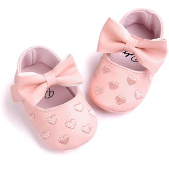 Newborn Baby Girl Cute Soft Soled Breathable Anti-slip PU Leather Shoes (pink)