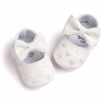 Newborn Baby Girl Cute Soft Soled Breathable Anti-slip PU Leather Shoes (white)