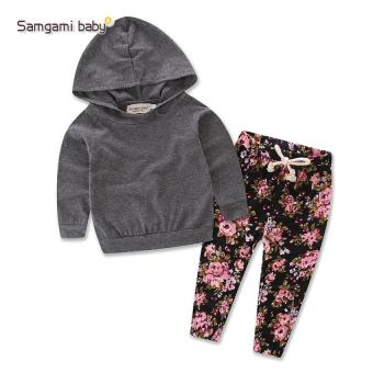 Newborn baby Girls printed clothing set kids infant girls floralclothes hooded t-shirt top+pants 2pcs set girls outfit dress - intl