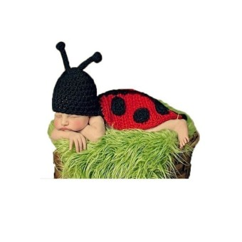 Newborn Baby Knit Ladybird Costume Photography Clothing Red (Intl)
